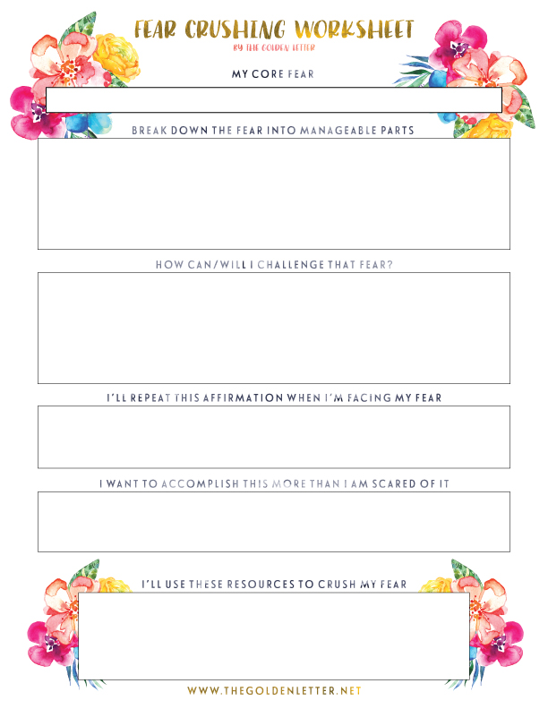 Crush-Your-Fears-Free-Printable-Worksheet | The Golden Letter